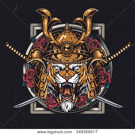 Vintage Animal Warrior Colorful Concept With Ferocious Tiger Head In Samurai Helmet Crossed Swords A