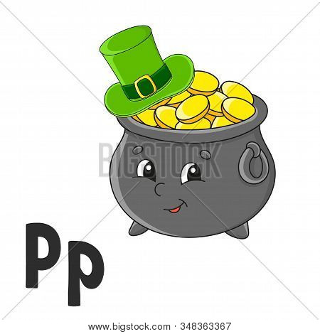 Alphabet Letter P. Pot Of Gold In Hat. Abc Flash Cards. Cartoon Cute Character Isolated On White Bac