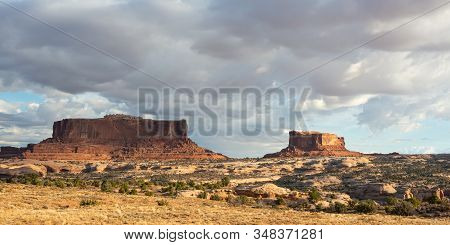 Travel And Tourism Cenes From The Western United States. Red Rock Formations And Dramatic Landscapes