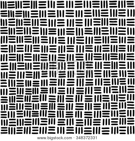 Seamless Basketweave Pattern Tile In Black And White. Hand-drawn Horizontal And Vertical Strands, Re