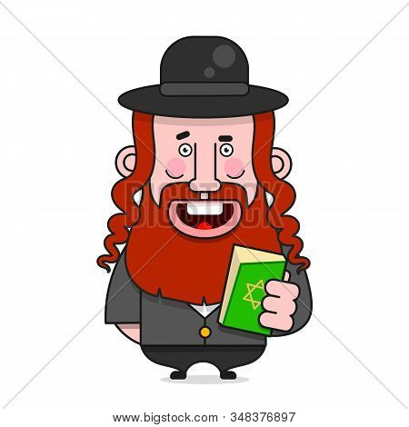 Bearded Jew In A Hat . Vector Illustration For Poster