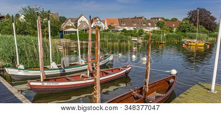 Schleswig, Germany - June 25, 2019: Panorama Of Sailing Boats In Holm Village Of Schleswig, Germany