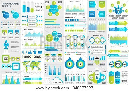 Bundle Infographic Elements Data Visualization Vector Design Template. Can Be Used For Steps, Busine