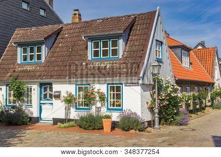 Schleswig, Germany - June 25, 2019: Little White House In Holm Fishing Village In Schleswig, Germany