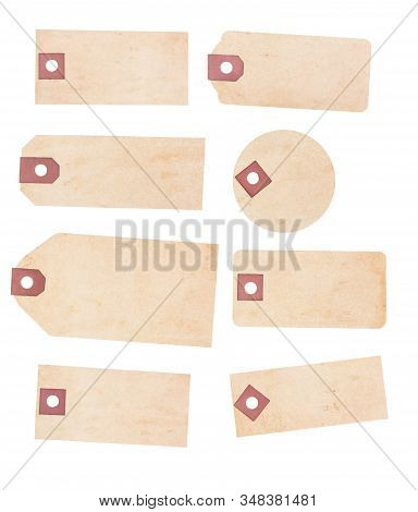 A Collection Of Eight Old Yellowing Paper Tags. Each Is Suitable As A Price Or Identification Tage A