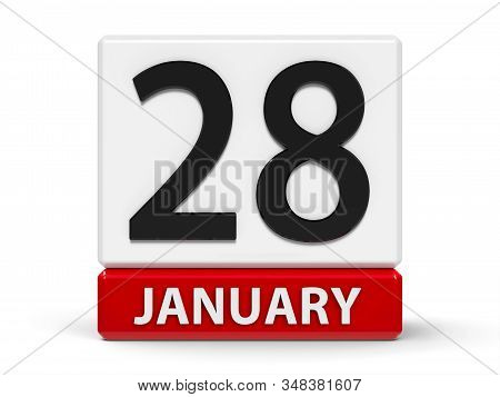 Red And White Calendar Icon From Cubes - The Twenty Eighth Of January - On A White Table - Data Prot