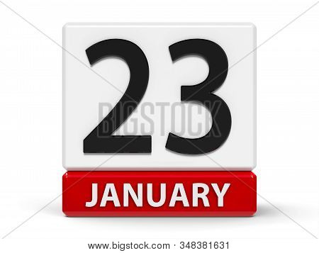 Red And White Calendar Icon From Cubes - The Twenty Third Of January - On A White Table - National H