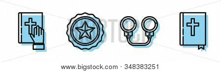 Set Line Handcuffs, Oath On The Holy Bible, Police Badge And Holy Bible Book Icon. Vector