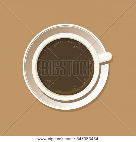 Cup Of Espresso With Latte Art Heart Top View. Cappuccino Coffee Mug On White Saucer With Etching Pa