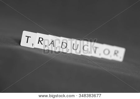 Perth, Scotland - 25 January 2020: Word Traductor Made Out Of Scrabble Letter Blocks