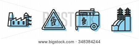 Set Line Portable Power Electric Generator, Power Station Plant And Factory, High Voltage Sign And N