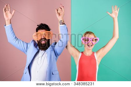Couple Having Fun. Office Party. Corporate Culture. Diving Into Celebration. Playful Businessman And
