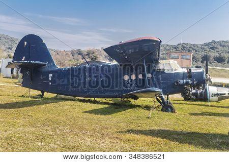 Vrsar, Croatia - January 29, 2020:  Old Aircraft Antonov 2 ( An-2 ), Colt, Exhibited At The Aeropark
