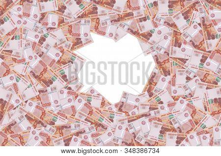 Russian 5000 Rubles Banknote Closeup Macro Bill Pattern