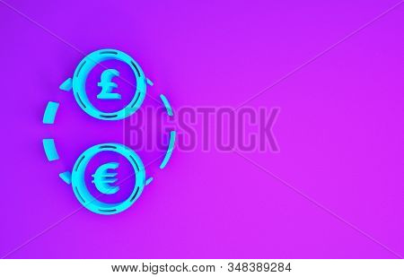 Blue Money Exchange Icon Isolated On Purple Background. Euro And Pound Sterling Cash Transfer Symbol