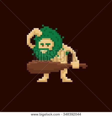 Pixel Art Primitive Ancient Cave Man Holding A Club. Vector Illustration Character. Game Asset 8-bit