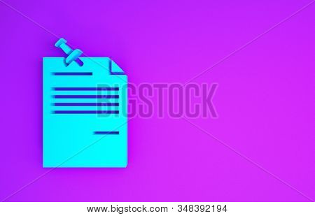 Blue Note Paper With Pinned Pushbutton Icon Isolated On Purple Background. Memo Paper Sign. Minimali