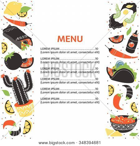 Set Of Funny Freehand Mexican Food Elements: Burrito, Taco, Margarita, Lemon, Cactus, Tomato, Salsa,