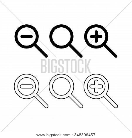 Zoom In, Zoom Out And Search Icon Set Magnifying Glass Black Isolated Vector Illustration View Resiz