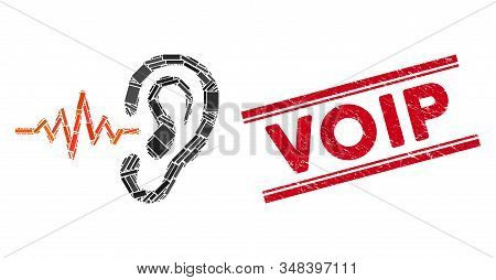 Mosaic Listen Icon And Red Voip Seal Stamp Between Double Parallel Lines. Flat Vector Listen Mosaic