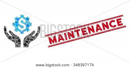 Mosaic Maintenance Price Icon And Red Maintenance Rubber Print Between Double Parallel Lines. Flat V