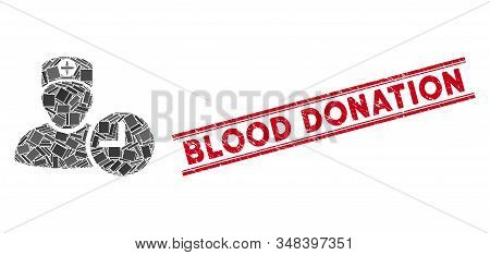 Mosaic Doctor Appointment Clock Icon And Red Blood Donation Seal Stamp Between Double Parallel Lines