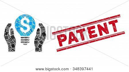 Mosaic Patent Care Pictogram And Red Patent Seal Between Double Parallel Lines. Flat Vector Patent C