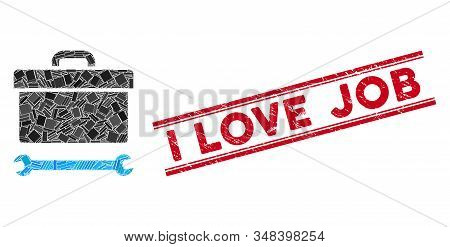 Mosaic Toolbox Pictogram And Red I Love Job Seal Stamp Between Double Parallel Lines. Flat Vector To