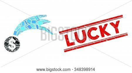 Mosaic Lucky Falling Dollar Pictogram And Red Lucky Seal Stamp Between Double Parallel Lines. Flat V