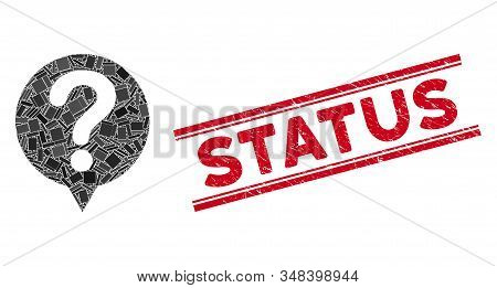 Mosaic Status Icon And Red Status Seal Stamp Between Double Parallel Lines. Flat Vector Status Mosai