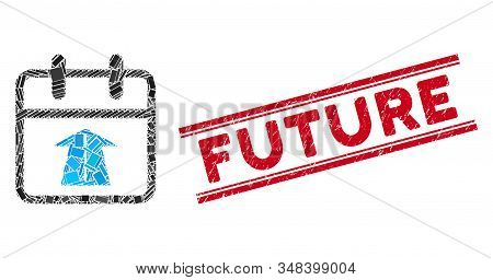 Mosaic Future Day Pictogram And Red Future Seal Between Double Parallel Lines. Flat Vector Future Da
