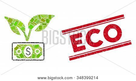 Mosaic Eco Startup Gain Icon And Red Eco Seal Stamp Between Double Parallel Lines. Flat Vector Eco S