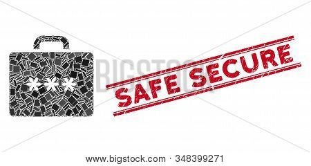 Mosaic Cipher Case Pictogram And Red Safe Secure Rubber Print Between Double Parallel Lines. Flat Ve