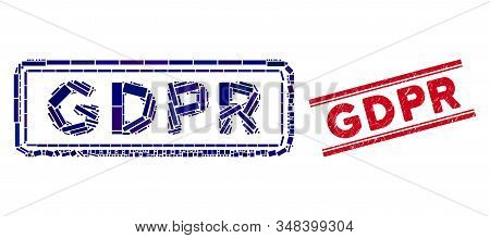 Mosaic Gdpr Rectangle Icon And Red Gdpr Stamp Between Double Parallel Lines. Flat Vector Gdpr Rectan