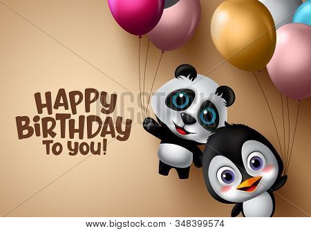 Happy Birthday Animal Kids Vector Banner. Happy Birthday Animal Kids Party With Flying Panda And Pen
