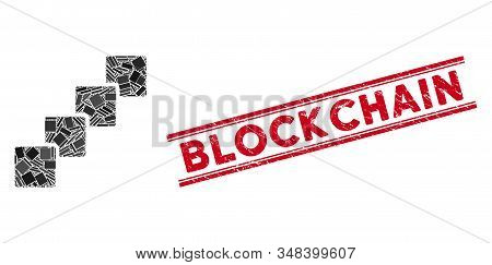 Mosaic Blockchain Pictogram And Red Blockchain Seal Stamp Between Double Parallel Lines. Flat Vector