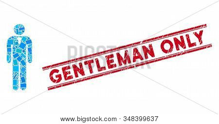 Mosaic Gentleman Icon And Red Gentleman Only Seal Between Double Parallel Lines. Flat Vector Gentlem