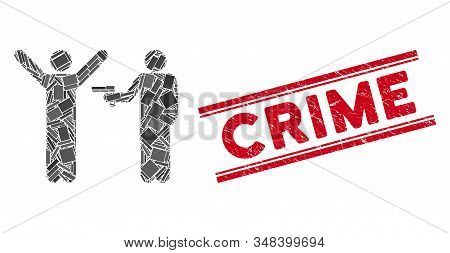 Mosaic Crime Robbery Pictogram And Red Crime Rubber Print Between Double Parallel Lines. Flat Vector