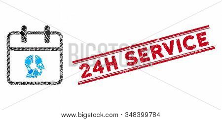 Mosaic Operator Day Pictogram And Red 24h Service Seal Stamp Between Double Parallel Lines. Flat Vec