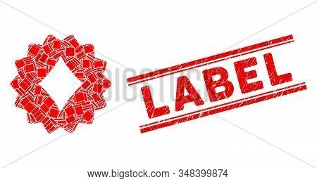 Mosaic Diamonds Token Pictogram And Red Label Seal Stamp Between Double Parallel Lines. Flat Vector