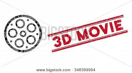 Mosaic Bobbin Pictogram And Red 3d Movie Seal Between Double Parallel Lines. Flat Vector Bobbin Mosa