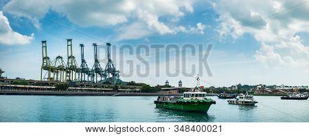 Sentosa Island, Singapore - January 18, 2018: Small Tourist Boats In Harbour Near Sentosa Island, Se