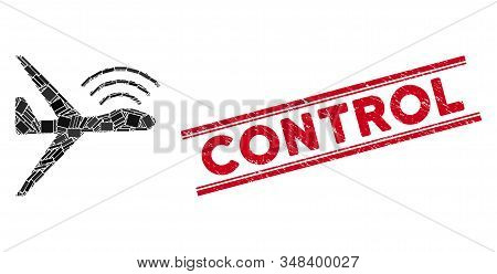Mosaic Radio Control Uav Pictogram And Red Control Stamp Between Double Parallel Lines. Flat Vector