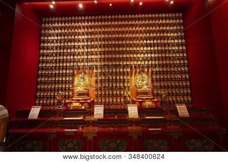 Singapore. January 2020.  Indoor View Of The Buddha Tooth Relic Temple