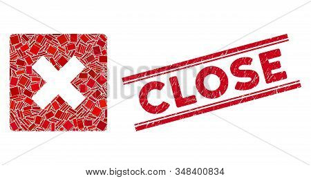 Mosaic Close Icon And Red Close Stamp Between Double Parallel Lines. Flat Vector Close Mosaic Icon O