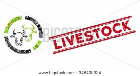 Mosaic Livestock Diagram Pictogram And Red Livestock Watermark Between Double Parallel Lines. Flat V