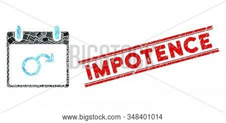 Mosaic Impotence Calendar Day Icon And Red Impotence Seal Stamp Between Double Parallel Lines. Flat