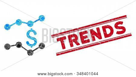 Mosaic Trends Icon And Red Trends Seal Stamp Between Double Parallel Lines. Flat Vector Trends Mosai