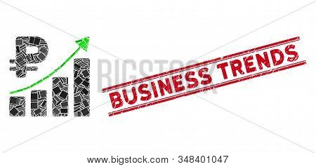 Mosaic Rouble Growth Trend Pictogram And Red Business Trends Seal Between Double Parallel Lines. Fla