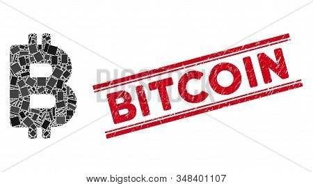 Mosaic Bitcoin Icon And Red Bitcoin Seal Stamp Between Double Parallel Lines. Flat Vector Bitcoin Mo